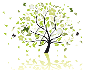 Royalty Free Clipart Image of a Summer Tree