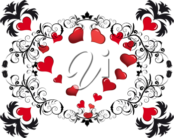 Royalty Free Clipart Image of a Floral and Heart Frame