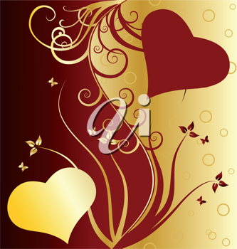 Royalty Free Clipart Image of a Floral Valentine's Day Background
