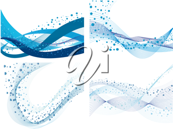 Royalty Free Clipart Image of a Set of Four Abstract Water Backgrounds