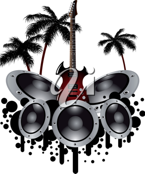Tropical grunge music background with copy space