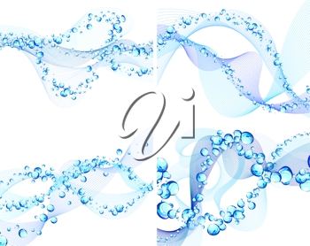 Abstract water vector backgrounds set with bubbles of air