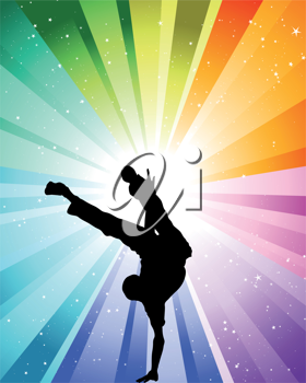 Brake dancer at the festive color rays and stars. Vector illustration for design use.