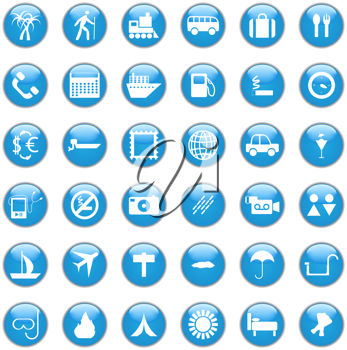 Collection of different icons for using in web design. Travel.