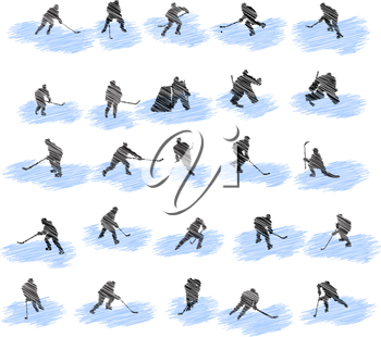 Set of hockey player grunge silhouettes. Fully editable EPS 10 vector illustration.