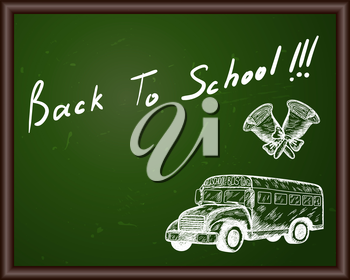 Blackboard with Back to school title and sketch drawing.