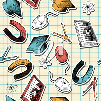 Seamless pattern with  hand drawn education theme on checkered copybook background