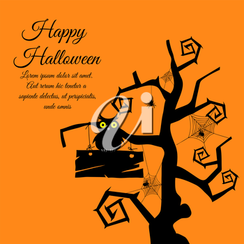 Happy Halloween Greeting Card. Elegant Design With Gothic Tree, Timber,  Owl, Webs and Spiders Over Orange Background.  Vector illustration.
