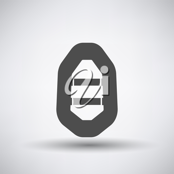 Fishing icon with rubber boat over gray background. Vector illustration.