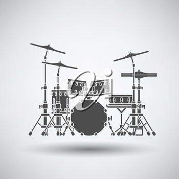 Drum set icon on gray background with round shadow. Vector illustration.