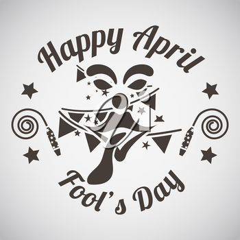 April fool's day emblem with clown face and tongue. Vector illustration.