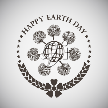 Earth day emblem with globe and trees around. Vector illustration.