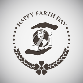 Earth day emblem with palms holding planet. Vector illustration.