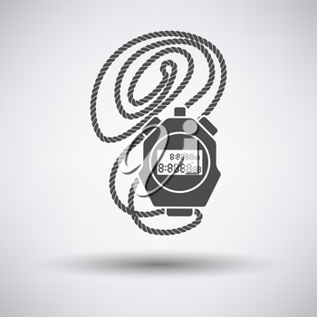 Coach stopwatch  icon on gray background with round shadow. Vector illustration.