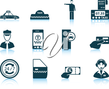Set of twelve Taxi icons with reflections. Vector illustration.