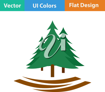 Flat design icon of fir forest in ui colors. Vector illustration.