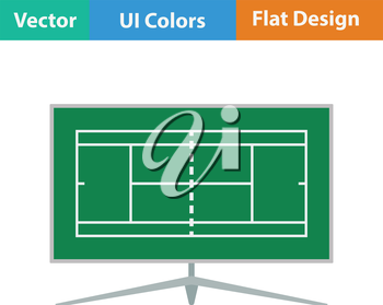 Tennis TV translation icon. Flat design. Vector illustration.