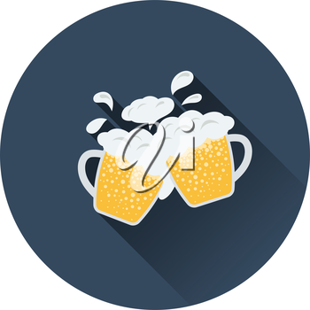 Two clinking beer mugs with fly off foam icon. Flat color design. Vector illustration.