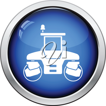 Icon of road roller. Glossy button design. Vector illustration.