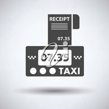 Taxi meter with receipt icon on gray background, round shadow. Vector illustration.