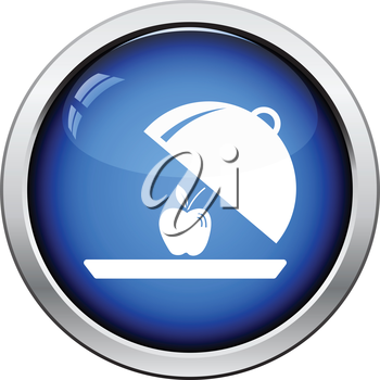 Apple inside cloche icon. Glossy button design. Vector illustration.