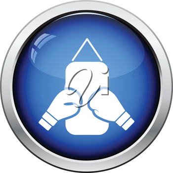 Boxing pear and gloves icon. Glossy button design. Vector illustration.