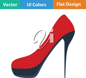 Female shoe with high heel icon. Flat design. Vector illustration.