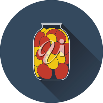 Canned tomatoes icon. Flat color design. Vector illustration.