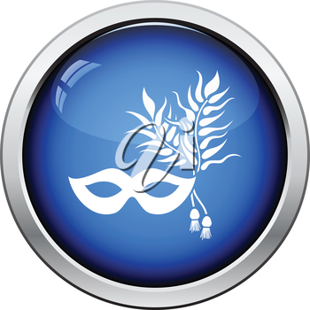 Party carnival mask icon. Glossy button design. Vector illustration.