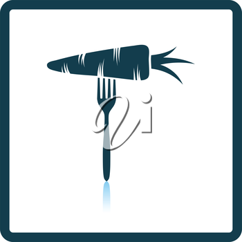 Icon of Diet carrot on fork . Shadow reflection design. Vector illustration.