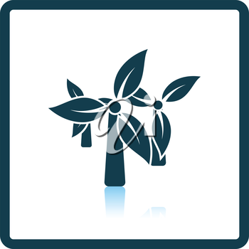 Wind mill with leaves in blades icon. Shadow reflection design. Vector illustration.