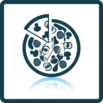 Pizza on plate icon. Shadow reflection design. Vector illustration.