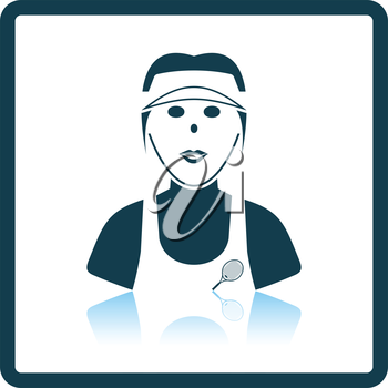Tennis woman athlete head icon. Shadow reflection design. Vector illustration.