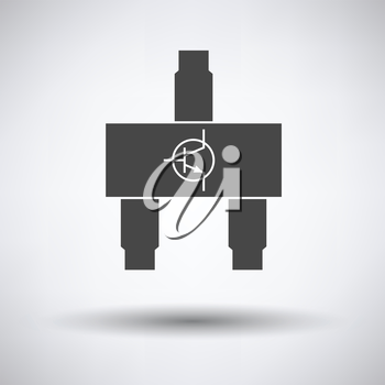 Smd transistor icon on gray background with round shadow. Vector illustration.