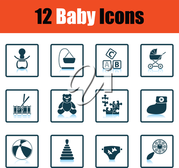 Set of baby icons. Shadow reflection design. Vector illustration.