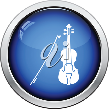 Violin icon. Glossy button design. Vector illustration.