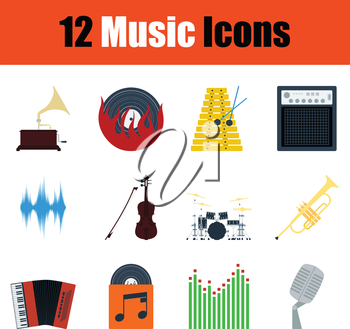 Music icon set. Color flat design. Vector illustration.