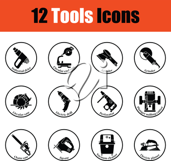 Tools icon set.  Thin circle design. Vector illustration.