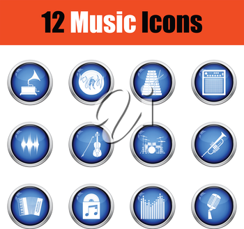 Set of musical icons.  Glossy button design. Vector illustration.