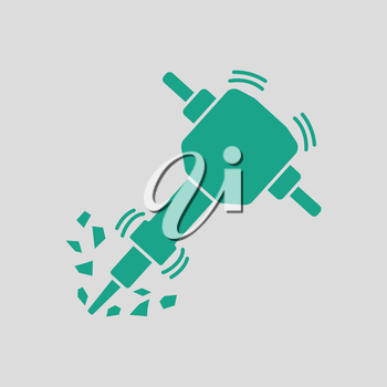 Icon of Construction jackhammer. Gray background with green. Vector illustration.