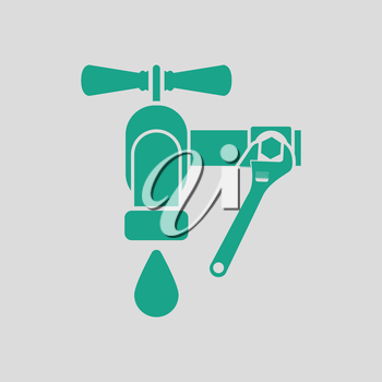 Icon of wrench and faucet. Gray background with green. Vector illustration.