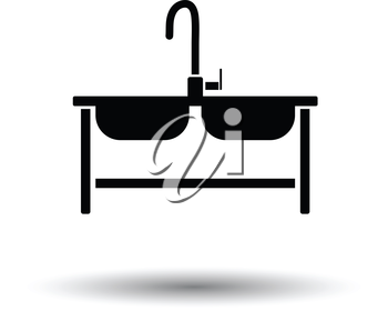 Double sink icon. White background with shadow design. Vector illustration.