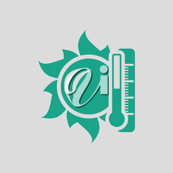 Sun and thermometer with high temperature icon. Gray background with green. Vector illustration.