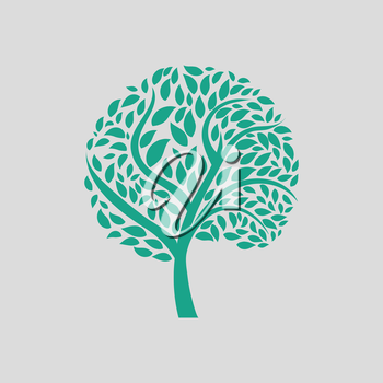 Ecological tree leaves icon. Gray background with green. Vector illustration.