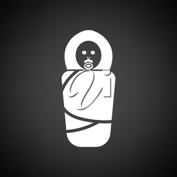 Wrapped infant ico. Black background with white. Vector illustration.