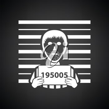 Prisoner in front of wall with scale icon. Black background with white. Vector illustration.