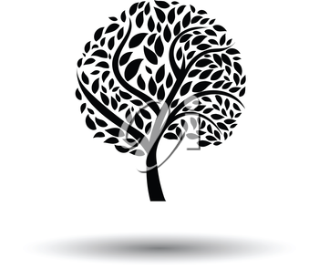 Ecological tree leaves icon. White background with shadow design. Vector illustration.