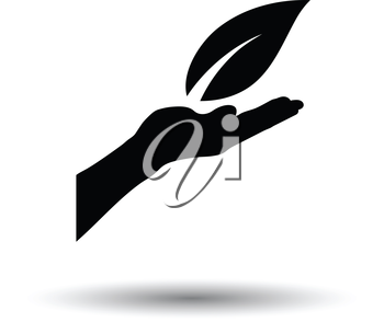 Hand holding leaf icon. White background with shadow design. Vector illustration.