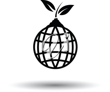 Planet sprout icon. White background with shadow design. Vector illustration.