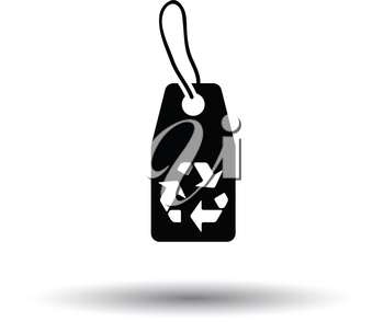 Tag and recycle sign icon. White background with shadow design. Vector illustration.